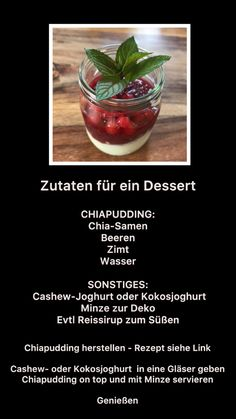 Beeren-Chiapudding (Grundrezept auf meiner Pinnwand); Joghurt alternative (Cashew, Kokosnuss,...);