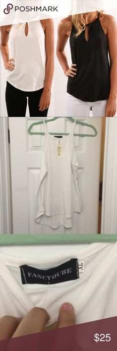 SALE: NWOT white top Fits more like a L but has plenty of stretch. A little see through if the sun it it but perfect for spring and summer. Listed as L even though the tag says XXL. Brand new. Stock photo is not my own but shows how the shirt fits. Purchased from a local boutique. Tops Blouses