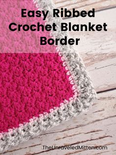 Add this easy crochet blanket edging to your next project. This crochet ribbing uses front and back post crochet stitches to create an interesting by simple border. # crochet blanket edging Easy Ribbed Border for Crochet Blanket Crochet Border Patterns, Crochet Blanket Border, Crochet Boarders, Crochet Pillow, Easy Crochet Stitches, Crochet Edgings, Crochet Dishcloths, Bag Patterns, Crochet Afghans
