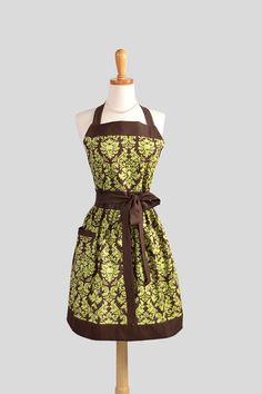 Womens Bib Full Apron . Full Kitchen Apron Handmade in Michael Millers Pistachio and Brown Damask Perfect for Monogram or Personalization via Etsy
