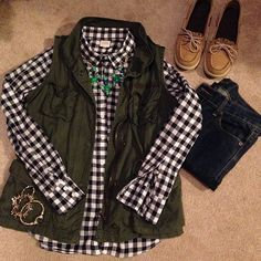 utility vest, gingham and sprerrys