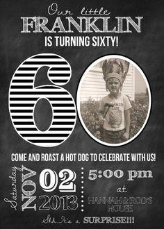 Milestone Birthday Chalkboard Invitation by expressingyoudesign