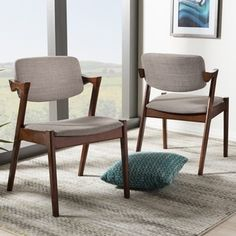 Baxton Studio Elegant Mid-Century Modern Upholstered 2-piece Dining Armchair Set - 17722039 - Overstock.com Shopping - Great Deals on Baxton Studio Dining Chairs