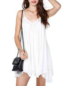 White Wavy Edges Chiffon Dress