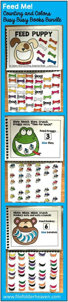 This Feed Me Colors and Counting Adapted Books Bundle includes 7 interactive books that focus on colors and counting. Books included: Feed Bunny Feed Froggy Feed Kitty Feed Monkey Feed Monster Feed Puppy Feed Piggy You can see many of the feed me books here: Feed Me Busy Busy Books In a small group, independent center or independent work station. A teacher or student reads through the book and feeds the animal or critter, the correct number and color the food on each page. Sample text: