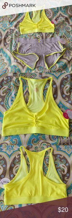 Bralette & sleep shorts set Super cute and comfy sleep set, with highlighter yellow bralette(no padding) and gray and yellow sleep shorts😍 flirtitude Intimates & Sleepwear