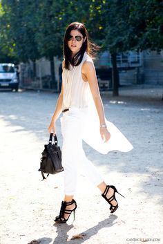 Emily Weiss, after Hermes, Paris fashion week, SS 12  Sometimes it's as simple as black and white… LOVE!