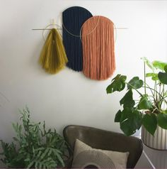 Waveforms Oversized Wall Hanging — Attalie Dexter Home - Wall Hangings and Mobiles diy mayhaps Welle Diy Wall Decor, Diy Home Decor, Fabric Wall Decor, Yarn Wall Hanging, Wall Hangings, Wall Hanging Crafts, Hanging Fabric, Creation Deco, Diy Projects To Try