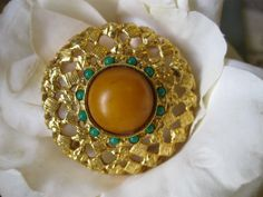 Vintage Cadoro Butterscotch & Turquoise Brooch Signed Estate Find