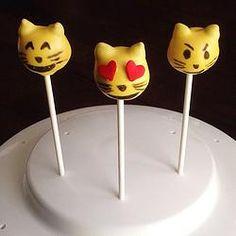Cat Emoji Cake Pops http://www.jamiessweetrevenge.com