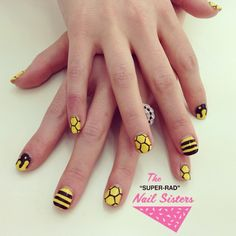 Honey/bee themed nails for Rosh Hashanah (Jewish new year) #nailart #nailartmelbourne #nailsisters #roshhashanah #superradnalsisters #radnailsisters (at The Super Rad Nail Sisters HQ)