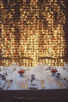 "If I ever had a ""formal"" dinner, and had a clean wall. If I ever had a ""formal"" dinner, and had a clean wall…that is completely a cool factor to do! 🙂 So elegant…and are available on, who doesn& like lights? Outdoor Dinner Parties, Formal Dinner, Light Decorations, Wedding Decorations, Fairy Light Decor, Fairy Light Curtain, Dinner Party Decorations, Curtain Lights, Event Planning"