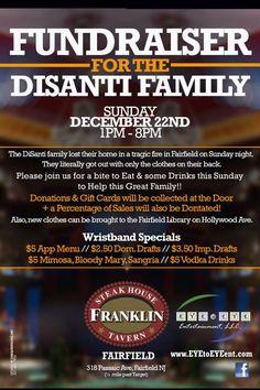 Fundraiser for DiSanti family this Sunday at Franklin Steakhouse in Fairfield. #fairfield #fireinfairfield #help #fundraiser
