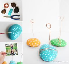 Rock Photo Holders - One Little Project Diy Craft Projects, Christmas Craft Projects, Fun Crafts For Kids, Diy Crafts To Sell, Photo Holders, Upcycled Crafts, Diy Photo, Flower Crafts, Painted Rocks