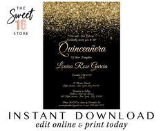 Quinceanera invitations, Black and Gold Quince invitations, Printable Invitation, birthday, Mis Text Message Invitations, Photo Invitations, Printable Birthday Invitations, Digital Invitations, Quince Invitations, Sweet Sixteen Invitations, Quinceanera Invitations, Winter Wonderland Birthday, Email Address