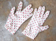 red polka dot gloves / vintage 60s red and by RustBeltThreads