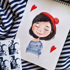 © Art and Life Art And Illustration, Watercolor Illustration, Watercolor Paintings, Character Art, Character Design, Cute Paintings, Art Sketchbook, Easy Drawings, Doodle Art