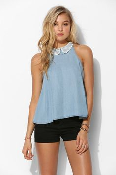 Coincidence & Chance Eyelet-Collar Sleeveless Top