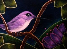 Art: TINY VIOLET COSTA'S HUMMINGBIRD IN MY GARDEN by Artist Cyra R. Cancel
