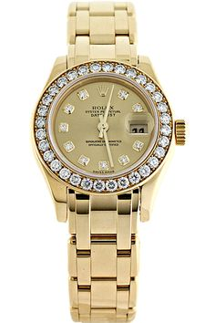 Certified Pre-Owned #Rolex Ladies' Masterpiece 18K Yellow #Gold with #Dimaonds Automatic #vintage #watch #watches #fashion