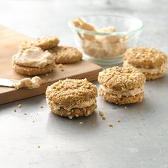 Salted Peanut Butter Sandwiches : A salty peanut butter buttercream sandwiched between two peanut butter cookies—yum