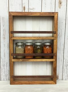 Wood Spice Rack For Wall Fascinating Spice Rack  Storage For Spices  Rustic Wood  Kitchen Storage Review