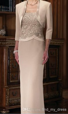 Best Selling! New Long Column Champagne Mother of the Bride Dresses with Jacket…
