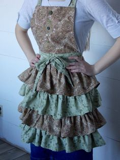 Ladies Tiered Apron Made From Vintage Sheets by Vintage Sheets, Aprons, Hand Sewing, Content, Lady, Fabric, Handmade, Stuff To Buy, Shopping