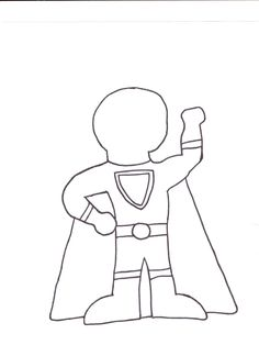 Draw a superhero blank like shown and have kids decide what kind of hero they'd be. Why? What powers would they have? Who would they help?