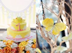 yellow sunshine birthday party yellow cake with butterflies