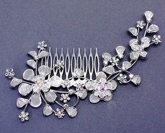 Mesh Silver Flower Metal Comb Bridal Hair Accessory