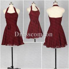 Halter burgundy bridesmaid dress