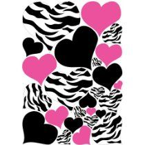Zebra Black and Pink Heart Wall Decals