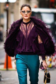 Olivia Palermo wears a purple fur coat blue pants sunglasses outside Elie Saab during Paris Fashion Week Haute Couture Spring/Summer 2018 on January...