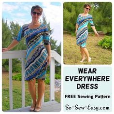 Easy dress pattern to sew for free! This dress has the sleeves built on, has only two pattern pieces and no darts or zippers but you'll LOVE this dress!