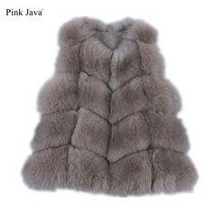 PINK JAVA QC8082 real fox fur vest  for women winter genuine fox short vest  high quality fashion fox gilet  coat free shipping
