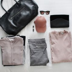 Ready for Stockholm💕 #bydansti #weekendbag #suede #packing #pink #grey #black #spring #scandinaviandesign #oslo #stockholm #launchingsoon #love #reiss #tigerofsweden #cos #bobbibrownlipstick #sunglasses