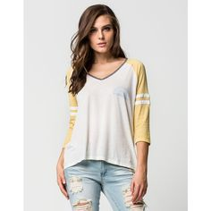 Billabong Morning Sunshine Womens Raglan Tee ($35) ❤ liked on Polyvore featuring tops, t-shirts, mustard, loose fitting tops, loose v neck tee, billabong tees, v neck tee and loose fit t shirts
