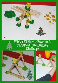 Winter STEM Activity for Preschool:  Evergreen Tree Building Challenge | The Preschool Toolbox Blog