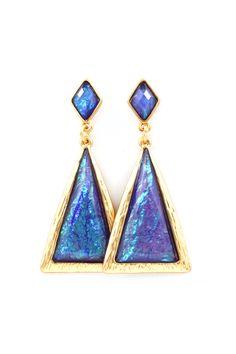Gwen Earrings in Prussian Blue Vitrail