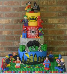 Marvelous Photo of Lego Superhero Birthday Cake Fiesta Batman Lego, Lego Superhero Cake, Lego Batman Cakes, Lego Batman Party, Lego Cake, Minion Cakes, Avengers Birthday Cakes, 5th Birthday Cake, Superhero Birthday Cake