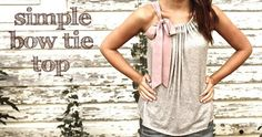 Sweet and feminine.  Could make as a large tee shirt redo.  Perhaps only have one shoulder tie and the other tank.