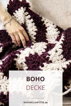 """Wir machen mit dem """"we are knitters"""" Strickset für die Samasana Decke eine Häkeldecke im Boho Stil. Boho Stil, Trends, Diy, Mantas Crochet, Culture, Creative, Homes, Bricolage, Handyman Projects"""