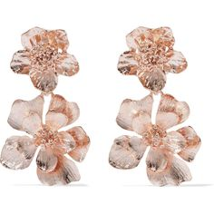 Oscar de la Renta Rose gold-plated clip earrings ($350) ❤ liked on Polyvore featuring jewelry, earrings, accessories, joias, oscar de la renta, oscar de la renta earrings, clip earrings, lightweight earrings and floral jewelry