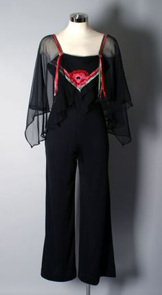 1970'S Sheer Butterfly Top Pantsuit