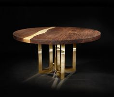 Buy Il Pezzo 6 Round Table by Il Pezzo Mancante - Made-to-Order designer Furniture from Dering Hall& collection of Contemporary Mid-Century & Modern Traditional Dining Room Tables Modern Dining Room Tables, Furniture Dining Table, Dining Table Legs, Dining Table Design, A Table, Console Tables, Wood Table, Esstisch Design, Colors
