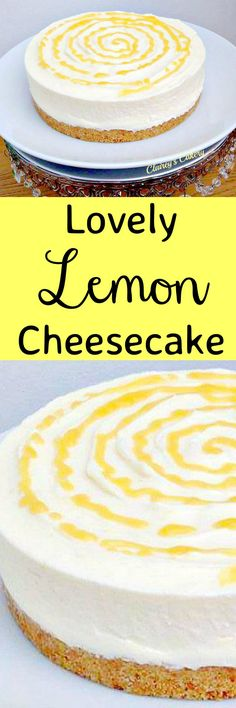 Super delicious, refreshing and real easy to make No Ba… Lovely Lemon Cheesecake. Super delicious, refreshing and real easy to make No Bake Dessert. Serve chilled or semi frozen. Both ways are yummy! Lemon Cheesecake Recipes, Lemon Desserts, Lemon Recipes, No Bake Desserts, Easy Desserts, Sweet Recipes, Dessert Recipes, Easy No Bake Cheesecake, Homemade Cheesecake
