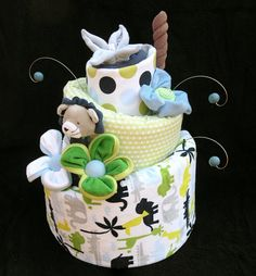 Baby Boy Safari Diaper Cake Made to Order by babyblossomco on Etsy