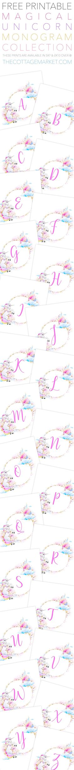 Free Unicorn Printable Monograms Collection Free Printable Magical Unicorn Monogram Collection that comes in 2 sizes are going to look Unicorn Printables, Free Printables, Unicorn Birthday Parties, Birthday Cards, Unicorn Crafts, Magical Unicorn, Free Gift Cards, Gift Tags, Rainbow Unicorn