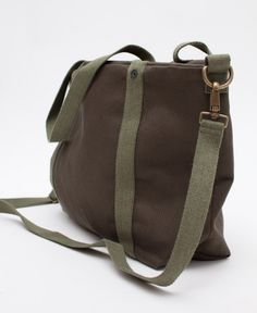 Canvas Bag by Barena Italy.  Made with heavy canvas, tartan twill liner, and brass hardware with a removable shoulder strap.